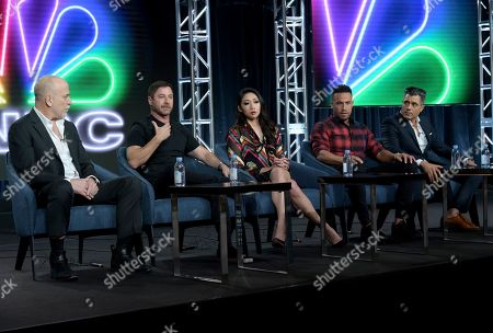 "Jim Ackerman, Aaron Kirman, Neyshia Go, Morgan Trent, Arvin Haddad. Jim Ackerman, EVP, Primetime Alternative, CNBC, from left, Aaron Kirman, Neyshia Go, Morgan Trent and Arvin Haddad participate in CNBC's ""Listing Impossible"" panel during the NBCUniversal TCA Winter Press Tour, in Pasadena, Calif"