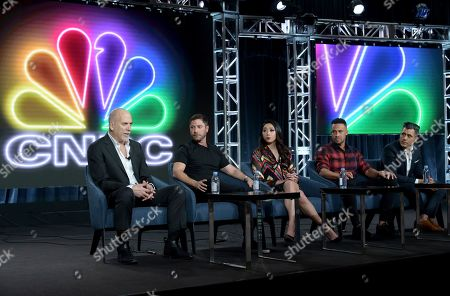 "Stock Image of Jim Ackerman, Aaron Kirman, Neyshia Go, Morgan Trent, Arvin Haddad. Jim Ackerman, EVP, Primetime Alternative, CNBC, from left, Aaron Kirman, Neyshia Go, Morgan Trent and Arvin Haddad participate in CNBC's ""Listing Impossible"" panel during the NBCUniversal TCA Winter Press Tour, in Pasadena, Calif"