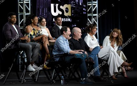 "Aaron Korsh, Daniel Arkin, Gina Torres, Bethany Joy Lenz, Eli Goree, Chantel Riley, Isabel Arraiza, Simon Kassianides. Executive producer Aaron Korsh, from front row left, executive producer/showrunner Daniel Arkin, co-executive producer Gina Torres, Bethany Joy Lenz and from back row left, Eli Goree, Chantel Riley, Isabel Arraiza and Simon Kassianides participate in USA's ""Pearson"" panel during the NBCUniversal TCA Winter Press Tour, in Pasadena, Calif"
