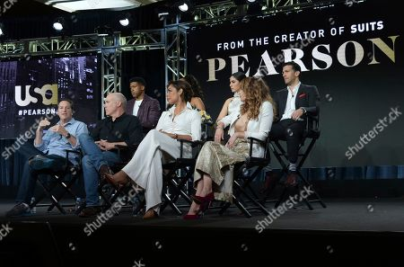 "Stock Image of Aaron Korsh, Daniel Arkin, Gina Torres, Bethany Joy Lenz, Eli Goree, Chantel Riley, Isabel Arraiza, Simon Kassianides. Executive producer Aaron Korsh, from front row left, executive producer/showrunner Daniel Arkin, co-executive producer Gina Torres, Bethany Joy Lenz and from back row left, Eli Goree, Chantel Riley, Isabel Arraiza and Simon Kassianides participate in USA's ""Pearson"" panel during the NBCUniversal TCA Winter Press Tour, in Pasadena, Calif"