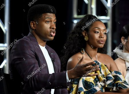 "Eli Goree, Chantel Riley. Eli Goree, left, and Chantel Riley participate in USA's ""Pearson"" panel during the NBCUniversal TCA Winter Press Tour, in Pasadena, Calif"