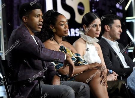 "Stock Photo of Eli Goree, Chantel Riley, Isabel Arraiza, Simon Kassianides. Eli Goree, from left, Chantel Riley, Isabel Arraiza and Simon Kassianides participate in USA's ""Pearson"" panel during the NBCUniversal TCA Winter Press Tour, in Pasadena, Calif"
