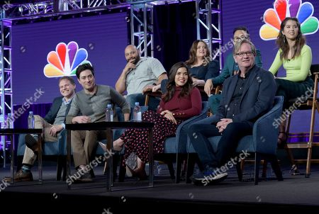 "Justin Spitzer, Ben Feldman, America Ferrera, Mark McKinney, Colton Dunn, Lauren Ash, Nico Santos, Nichole Bloom. Executive producer Justin Spitzer, from front row left, Ben Feldman, America Ferrera, Mark McKinney and from back row left, Colton Dunn, Lauren Ash, Nico Santos and Nichole Bloom participate in NBC's ""Superstore"" panel during the NBCUniversal TCA Winter Press Tour, in Pasadena, Calif"