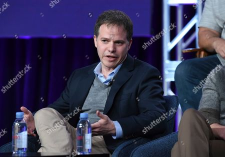 "Justin Spitzer speaks in NBC's ""Superstore"" panel during the NBCUniversal TCA Winter Press Tour, in Pasadena, Calif"