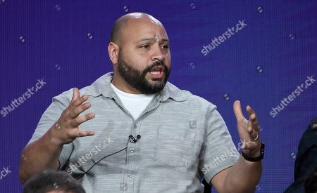 "Colton Dunn speaks in NBC's ""Superstore"" panel during the NBCUniversal TCA Winter Press Tour, in Pasadena, Calif"
