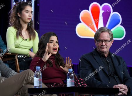 """America Ferrera, Mark McKinney, Nichole Bloom. America Ferrera speaks as Mark McKinney, right, and Nichole Bloom look on in NBC's """"Superstore"""" panel during the NBCUniversal TCA Winter Press Tour, in Pasadena, Calif"""