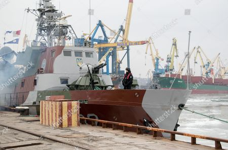 Ukrainian sailor guards on the armored artillery patrol boat in the Azov sea port in the eastern-Ukrainian city of Mariupol, Ukraine, 29 January 2019. Czech Foreign Minister Tomas Petricek and Danish Foreign Minister Anders Samuelsen visit eastern-Ukrainian conflict zone during their working visit for understanding the situation in the area.