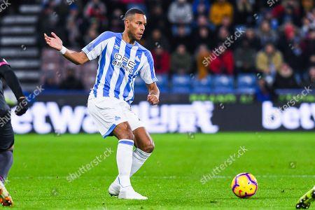 Mathias Zanka Jorgensen of Huddersfield Town (25) passes the ball during the Premier League match between Huddersfield Town and Everton at the John Smiths Stadium, Huddersfield