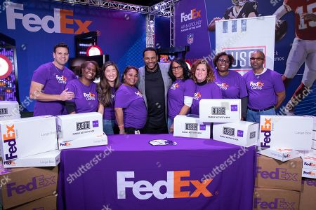 Jerome Bettis, Pro Football Hall of Famer and Super Bowl XL Champion, joined FedEx and the USO to assemble Family Activity Boxes for military families across the country, during a visit to the FedEx Air & Ground Challenge at the Super Bowl Experience Driven by Hyundai on in Atlanta