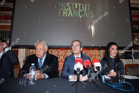 Stock Photo of Felipe Gonzalez, Yves Saint-Geours, Beatriz Luengo