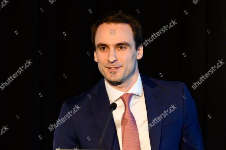 Stock Image of Michael Kratsios, Deputy U.S. Chief Technology Officer and Deputy Assistant to the President at the White House Office of Science and Technology Policy, speaking at the State of the Net Conference 2019 at the Newseum in Washington, DC.