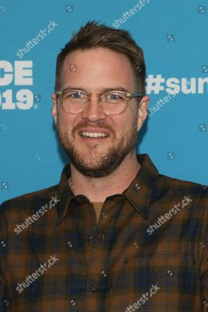 "Patrick Brice poses at the premiere of the film ""Corporate Animals"" during the 2019 Sundance Film Festival, in Park City, Utah"