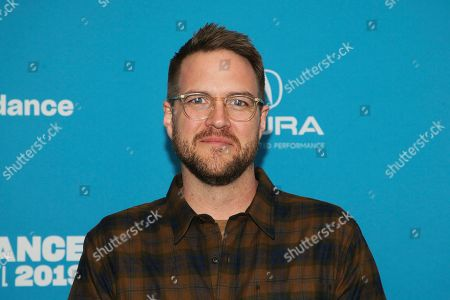 """Patrick Brice poses at the premiere of the film """"Corporate Animals"""" during the 2019 Sundance Film Festival, in Park City, Utah"""