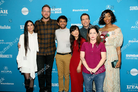 "Demi Moore, Patrick Brice, Karan Soni, Jennifer Kim, Ed Helms, Martha Kelly, and Jessica Williams. Demi Moore, from left, director Patrick Brice, Karan Soni, Jennifer Kim, Ed Helms, Martha Kelly, and Jessica Williams pose at the premiere of the film ""Corporate Animals"" during the 2019 Sundance Film Festival, in Park City, Utah"