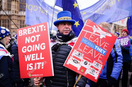 Anti-Brexit activist Steve Bray demonstrates outside the Houses of Parliament in central London. In the Commons, on a day of significant parliamentary activity over Brexit, MPs voted down a cross-party amendment tabled by Labour Party MP Yvette Cooper and Conservative Party MP Nick Boles designed to substantially reduce the risk of a much-feared 'no-deal' exit from the EU. An amendment rejecting the principle of a no-deal exit was meanwhile approved, as was a government-backed amendment championed by Conservative Party MP Graham Brady calling for 'alternative arrangements' to take the place of the controversial Irish 'backstop' provision in the withdrawal agreement negotiated with the EU.