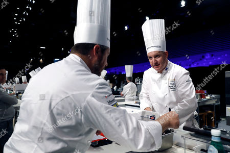 Chef Michael Cole from Australia prepares a dish during the second day competition of the two-day world final of the Bocuse d'Or contest at the Sirha International Hotel Catering and Food trade Exhibition, in Lyon, France, 30 January 2019.