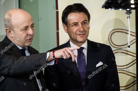 Stock Picture of CEO of Borsa Italiana Raffaele Jerusalmi, Italian Prime Minister Giuseppe Conte