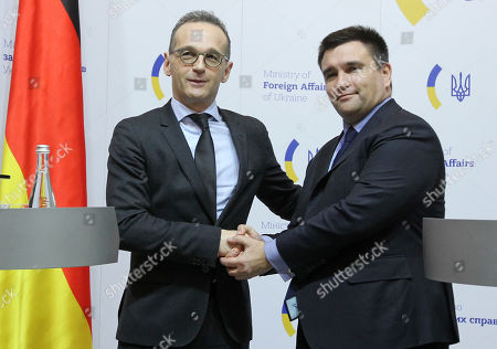 German Foreign Minister Heiko Maas (L) and Ukrainian Foreign Minister Pavlo Klimkin (R) are seen attending a press conference during their meeting in Kiev.