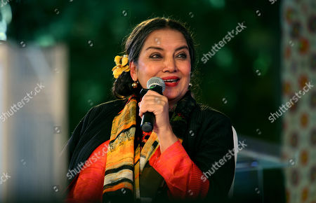 Stock Image of Bollywood actor Shabana Azmi during 'For Abba, With Love' session