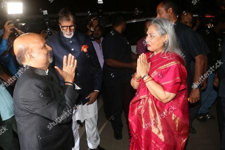 Lyricist Sameer Anjaan welcome Bollywood actor Amitabh Bachchan and Jaya Bachchan
