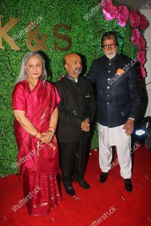 Lyricist Sameer Anjaan with Bollywood actor Amitabh Bachchan and Jaya Bachchan