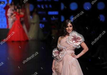 Bollywood actress Yami Gautam presents a creation by Indian designers Gauri and Nainika during the Lakme Fashion Week (LFW) Summer/Resort 2019 in Mumbai, India, 30 January 2019.