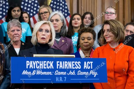 Activist Lilly Ledbetter (L) speaks beside US Speaker of the House Nancy Pelosi (R) and others during an event with Democratic members of Congress and national organization members to reintroduce the Paycheck Fairness Act, on Capitol Hill in Washington, DC, USA, 30 January 2019. Democratic members of Congress reintroduce the Paycheck Fairness Act ten years after former US President Barack Obama signed into law the the Lilly Ledbetter Fair Pay Act. The legislation intends to close the pay gap between men and women by requiring equal pay for equal work.
