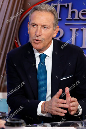 "Stock Photo of Dana Perino, Howard Schultz. Former Starbucks CEO Howard Schultz is interviewed by FOX News Anchor Dana Perino for her ""The Daily Briefing"" program, in New York, . Schultz said he's flirting with an independent presidential campaign that would motivate voters turned off by both parties"