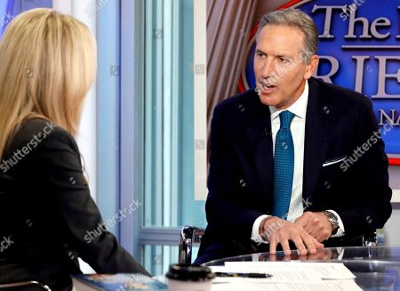 "Stock Picture of Dana Perino, Howard Schultz. Former Starbucks CEO Howard Schultz is interviewed by FOX News Anchor Dana Perino for her ""The Daily Briefing"" program, in New York, . Schultz said he's flirting with an independent presidential campaign that would motivate voters turned off by both parties"