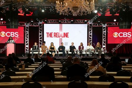 Noel Fisher, Emayatzy Corinealdi, Aliyah Royale, Noah Wyle, Caitlin Parrish, Erica Weiss, Sunil Nayar, Sarah Schechter. Noel Fisher, from left, Emayatzy Corinealdi, Aliyah Royale, Noah Wyle, Caitlin Parrish, Erica Weiss, Sunil Nayar and Sarah Schechter participate in the 'The Red Line' show panel during the CBS presentation at the Television Critics Association Winter Press Tour at The Langham Huntington, in Pasadena, Calif