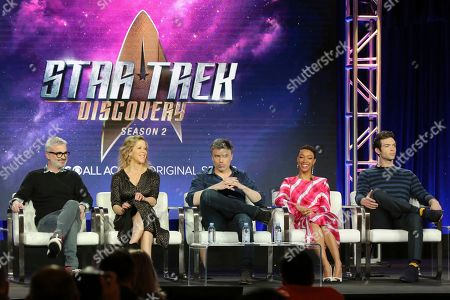 Alex Kurtzman, Heather Kadin, Anson Mount, Sonequa Martin-Green, Ethan Peck. Alex Kurtzman, from left, Heather Kadin, Anson Mount, Sonequa Martin-Green and Ethan Peck participate in the 'Star Trek: Discovery' show panel during the CBS All Access presentation at the Television Critics Association Winter Press Tour at The Langham Huntington, in Pasadena, Calif