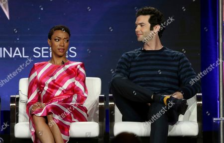 Sonequa Martin-Green, Ethan Peck. Sonequa Martin-Green, left, and Ethan Peck participate in the 'Star Trek: Discovery' show panel during the CBS All Access presentation at the Television Critics Association Winter Press Tour at The Langham Huntington, in Pasadena, Calif
