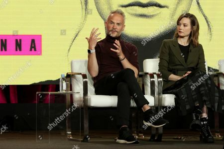 Oliver Lansley, Lydia Wilson. Executive Producer and Series Creator Oliver Lansley, left, and Lydia Wilson participate in the 'Flack' show panel during the Pop TV presentation at the Television Critics Association Winter Press Tour at The Langham Huntington, in Pasadena, Calif