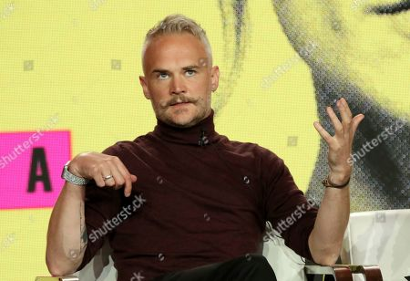 Executive Producer and Series Creator Oliver Lansley participates in the 'Flack' show panel during the Pop TV presentation at the Television Critics Association Winter Press Tour at The Langham Huntington, in Pasadena, Calif