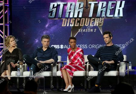 Heather Kadin, Anson Mount, Sonequa Martin-Green, Ethan Peck. Heather Kadin, from left, Anson Mount, Sonequa Martin-Green and Ethan Peck participate in the 'Star Trek: Discovery' show panel during the CBS All Access presentation at the Television Critics Association Winter Press Tour at The Langham Huntington, in Pasadena, Calif