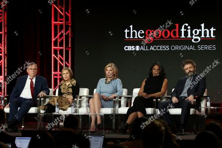 Robert King, Michelle King, Christine Baranski, Audra McDonald, Michael Sheen. Robert King, from left, Michelle King, Christine Baranski, Audra McDonald and Michael Sheen participate in the 'The Good Fight' show panel during the CBS All Access presentation at the Television Critics Association Winter Press Tour at The Langham Huntington, in Pasadena, Calif