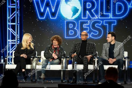 Alison Holloway, Mike Darnell, RuPaul, Ben Winston. Alison Holloway, from left, Mike Darnell, RuPaul and Ben Winston participate in the 'The World's Best' show panel during the CBS presentation at the Television Critics Association Winter Press Tour at The Langham Huntington, in Pasadena, Calif