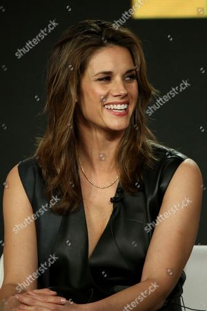 Missy Peregrym participates in the 'The FBI' show panel during the CBS presentation at the Television Critics Association Winter Press Tour at The Langham Huntington, in Pasadena, Calif