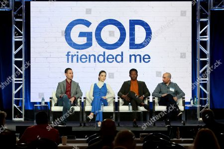 Steven Lilien, Violett Beane, Brandon Micheal Hall, Bryan Wynbrandt. Steven Lilien, from left, Violett Beane, Brandon Micheal Hall and Bryan Wynbrandt participate in the 'God Friended Me' show panel during the CBS presentation at the Television Critics Association Winter Press Tour at The Langham Huntington, in Pasadena, Calif