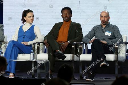 "Violett Beane, Brandon Micheal Hall, Bryan Wynbrandt. Violett Beane, from left, Brandon Micheal Hall and Bryan Wynbrandt participate in the ""God Friended Me"" show panel during the CBS presentation at the Television Critics Association Winter Press Tour at The Langham Huntington, in Pasadena, Calif"