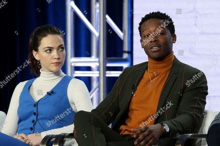 "Violett Beane, Brandon Micheal Hall. Violett Beane, left, and Brandon Micheal Hall participate in the ""God Friended Me"" show panel during the CBS presentation at the Television Critics Association Winter Press Tour at The Langham Huntington, in Pasadena, Calif"