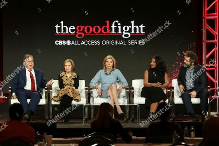 "Robert King, Michelle King, Christine Baranski, Audra McDonald, Michael Sheen. Robert King, from left, Michelle King, Christine Baranski, Audra McDonald and Michael Sheen participate in the ""The Good Fight"" show panel during the CBS All Access presentation at the Television Critics Association Winter Press Tour at The Langham Huntington, in Pasadena, Calif"