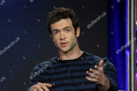 "Ethan Peck participates in the ""Star Trek: Discovery"" show panel during the CBS All Access presentation at the Television Critics Association Winter Press Tour at The Langham Huntington, in Pasadena, Calif"