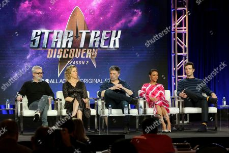 "Stock Picture of Alex Kurtzman, Heather Kadin, Anson Mount, Sonequa Martin-Green, Ethan Peck. Alex Kurtzman, from left, Heather Kadin, Anson Mount, Sonequa Martin-Green and Ethan Peck participate in the ""Star Trek: Discovery"" show panel during the CBS All Access presentation at the Television Critics Association Winter Press Tour at The Langham Huntington, in Pasadena, Calif"