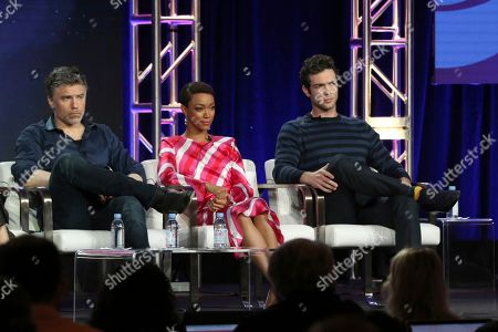 "Stock Photo of Anson Mount, Sonequa Martin-Green, Ethan Peck. Anson Mount, from left, Sonequa Martin-Green and Ethan Peck participate in the ""Star Trek: Discovery"" show panel during the CBS All Access presentation at the Television Critics Association Winter Press Tour at The Langham Huntington, in Pasadena, Calif"