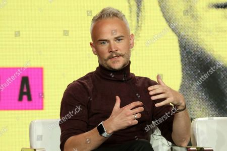 "Executive Producer and Series Creator Oliver Lansley participates in the ""Flack"" show panel during the Pop TV presentation at the Television Critics Association Winter Press Tour at The Langham Huntington, in Pasadena, Calif"