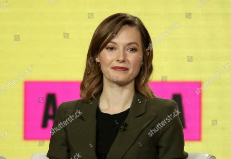 Lydia Wilson participates in the 'Flack' show panel during the Pop TV presentation at the Television Critics Association Winter Press Tour at The Langham Huntington, in Pasadena, Calif