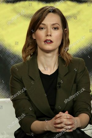 """Lydia Wilson participates in the """"Flack"""" show panel during the Pop TV presentation at the Television Critics Association Winter Press Tour at The Langham Huntington, in Pasadena, Calif"""