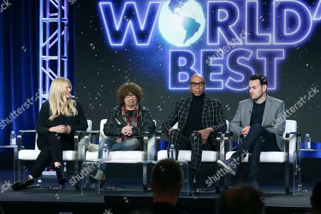 """Alison Holloway, Mike Darnell, RuPaul, Ben Winston. Alison Holloway, from left, Mike Darnell, RuPaul and Ben Winston participate in the """"The World's Best"""" show panel during the CBS presentation at the Television Critics Association Winter Press Tour at The Langham Huntington, in Pasadena, Calif"""