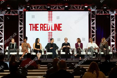 "Noel Fisher, Emayatzy Corinealdi, Aliyah Royale, Noah Wyle, Caitlin Parrish, Erica Weiss, Sunil Nayar, Sarah Schechter. Noel Fisher, from left, Emayatzy Corinealdi, Aliyah Royale, Noah Wyle, Caitlin Parrish, Erica Weiss, Sunil Nayar and Sarah Schechter participates in the ""The Red Line"" show panel during the CBS presentation at the Television Critics Association Winter Press Tour at The Langham Huntington, in Pasadena, Calif"